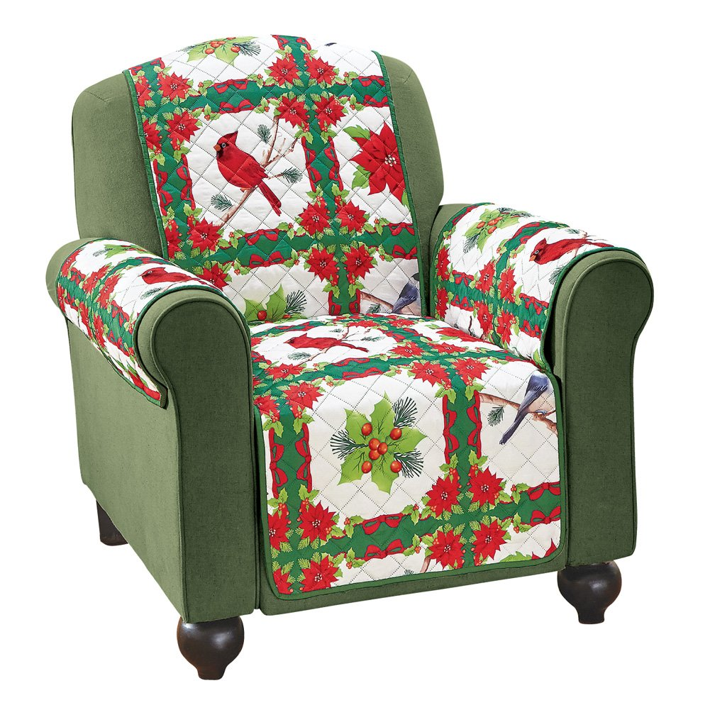 Amazon.com: Holiday Birds And Evergreen Furniture Cover, Chair: Home U0026  Kitchen