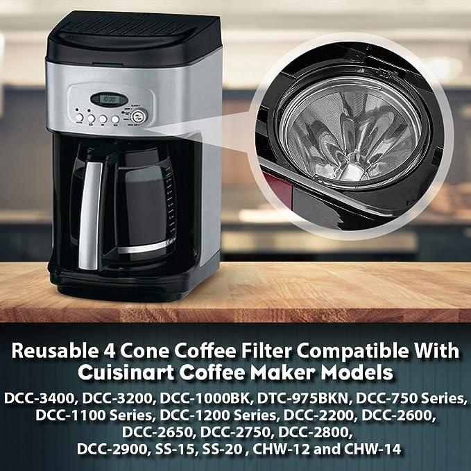 Filtro de café reutilizable de 4 conos para cafetera y cafeteras ...