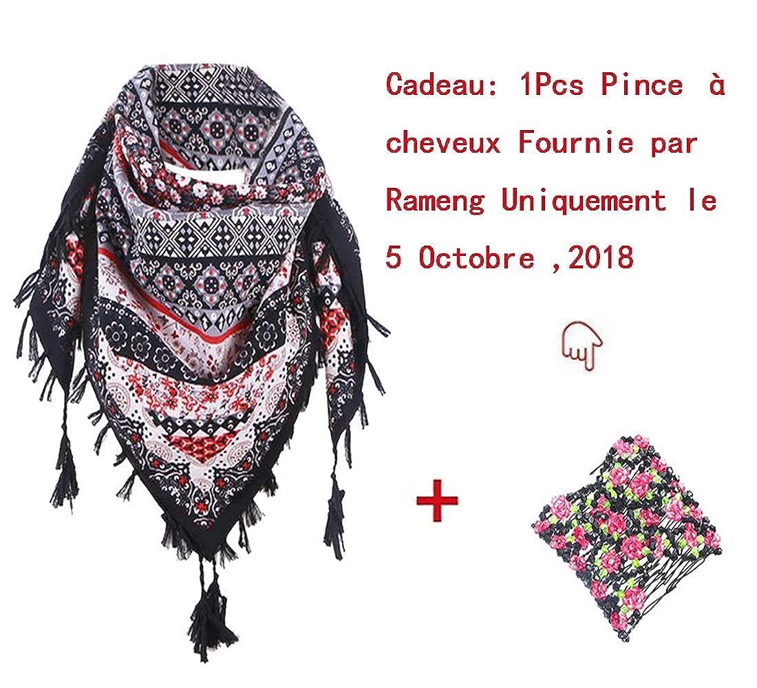 6be867d39ebb Rameng 110   110cm Foulard Gland Rétro Imprimé Bohême Wrap Hiver Echarpe de Cou  Pour Femme