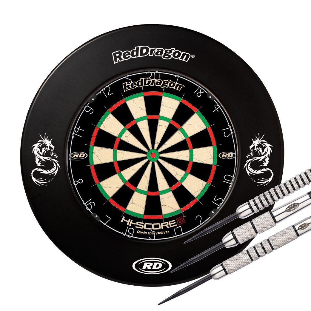 Red Dragon Hi-Score 2 Dartboard, Printed Surround & Swingfire 1-24g darts- Combo Set Black Red Dragon Darts