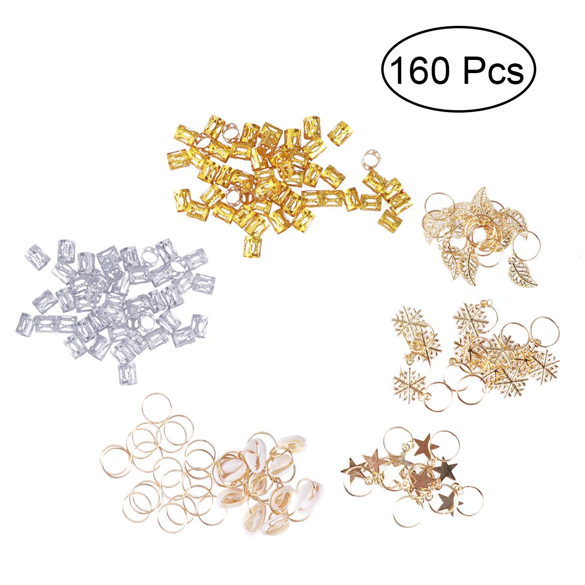 Frcolor 160Pcs Hair Charms Hair Jewelry Rings Decorations Snowflake Feather Star Pattern Hair Braid Rings Hair Beads for Dreadlocks