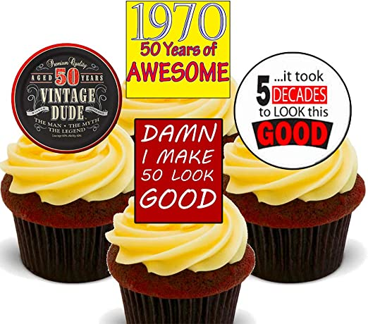 Enjoyable 50Th Birthday Male Vintage Edible Cupcake Toppers Stand Up Funny Birthday Cards Online Elaedamsfinfo