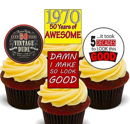 50 Cumpleaños macho, 1967 Vintage, Cupcakes Comestible stand ...
