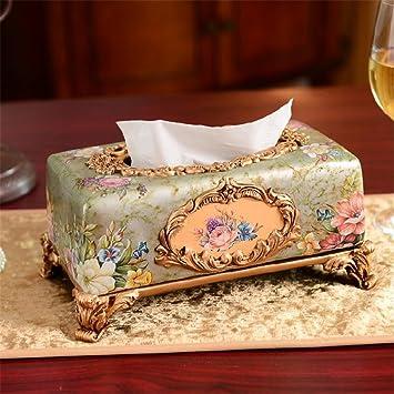 Estilo europeo caja de pañuelos cajas de bombeo de resina decoración de hogar caja de lujo de lujo decoración manualidades servilletas creative: Amazon.es: ...