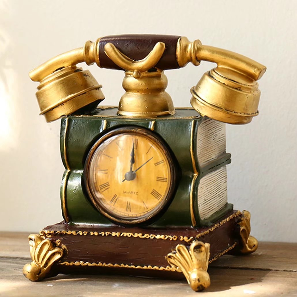 UNUSUAL 置き時計 クロック 電話模型 スタンド オブジェ インテリア 書斎 創意 貯金箱 兼用 部屋を飾り 時計 引越し祝い 誕生日プレゼント 可愛い 装飾品 新築祝い B074WT7179 C C