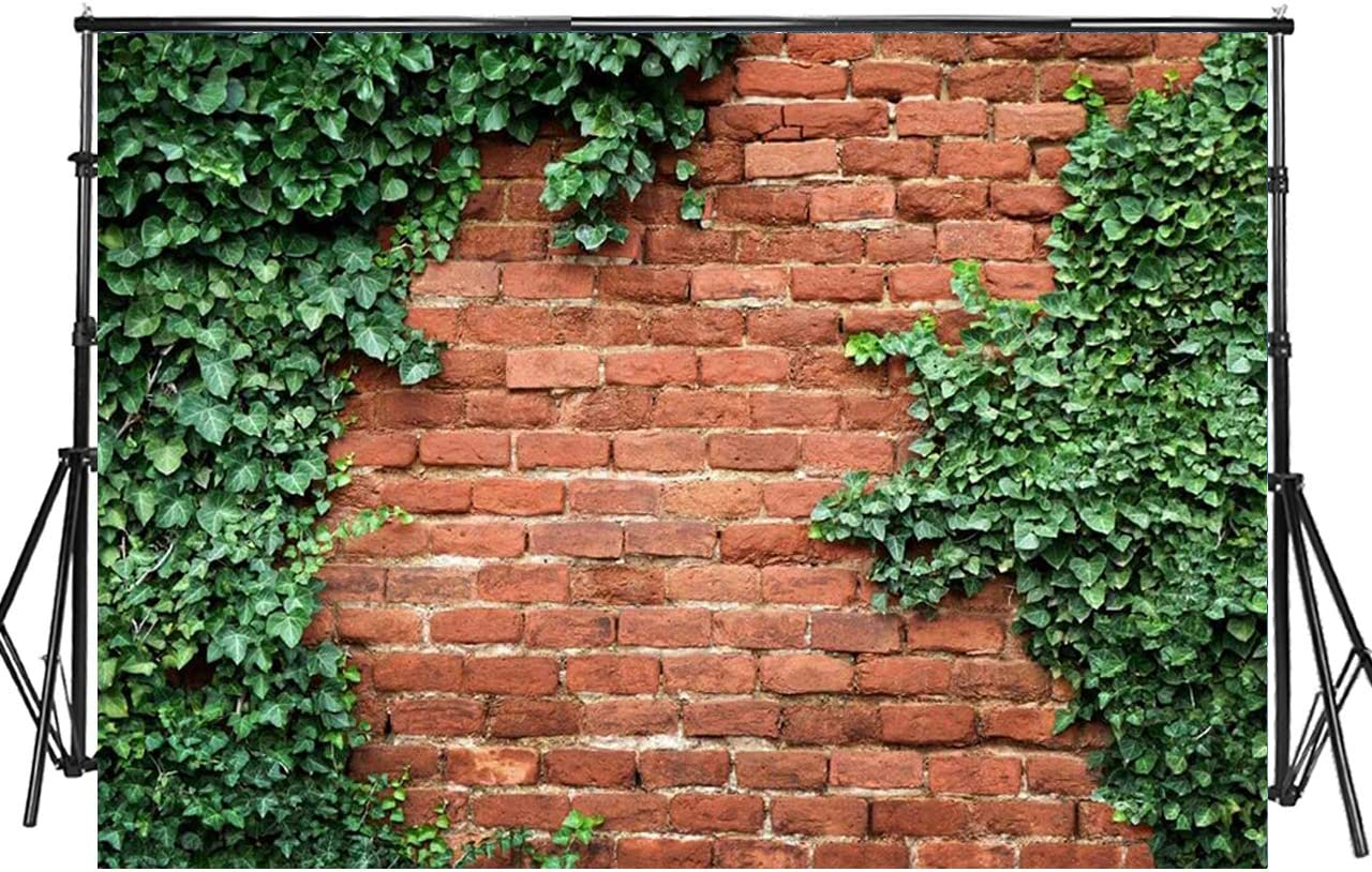 Sensfun 7x5ft Vintage Red Brick Wall Photography Backdrops Nature Ivy Green Leaves Covered Wall Photo Background for Wedding Happy Birthday Party Portrait Photobooth Banner Photo Studio Props(WP034)