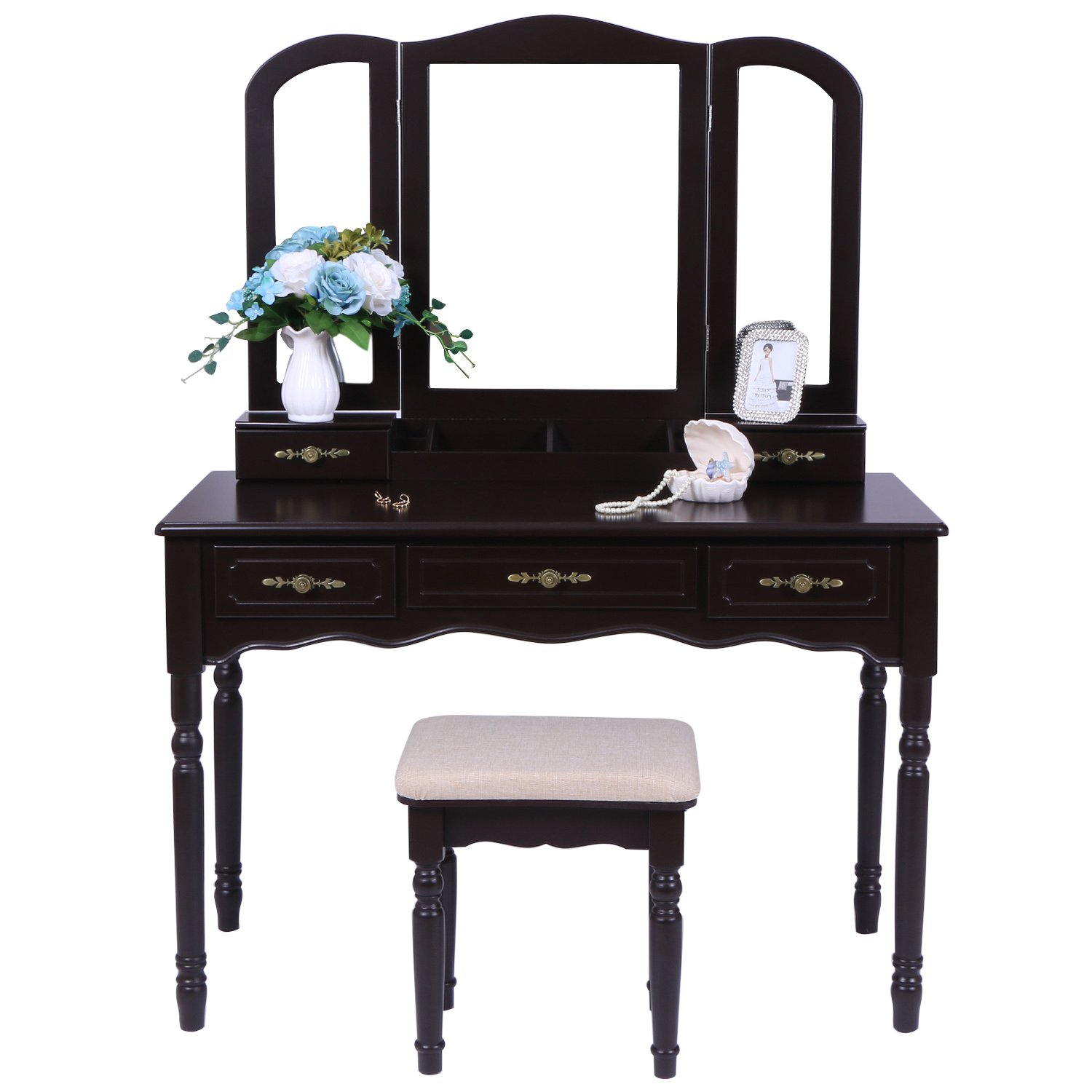 BEWISHOME Vanity Set with Large Tri-folding Mirror & Cushioned Stool Vanity Desk Makeup Table 5 Drawers 2 Dividers Desk Organizer Brown FST03Z