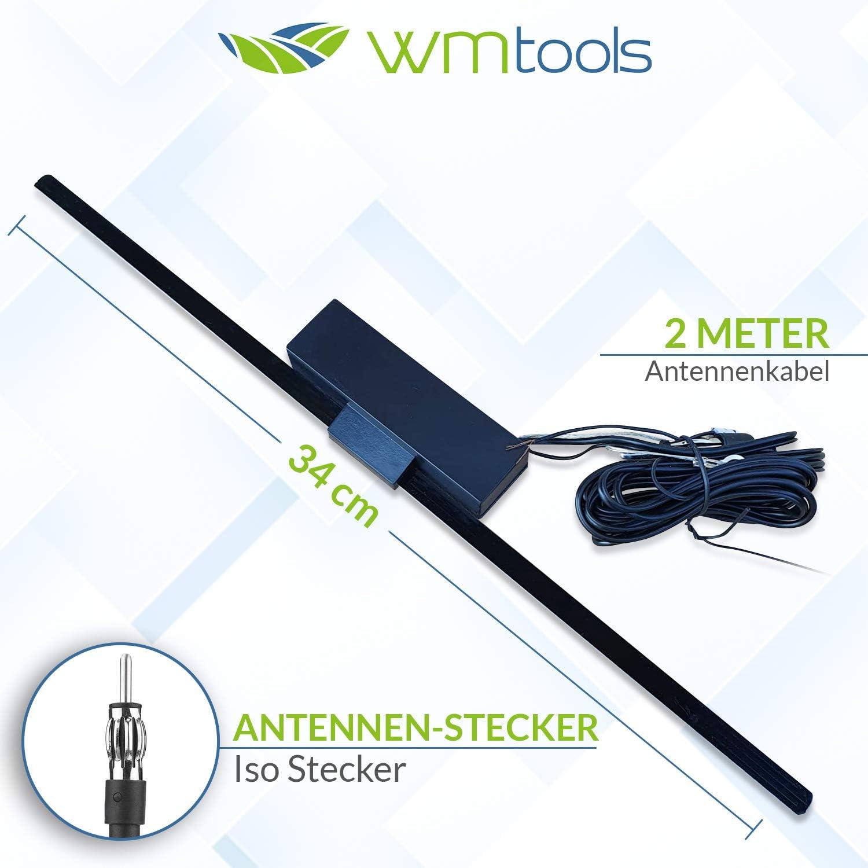 Antena para radio de coche AM/FM, para interior de la ventana, con adaptador de antena DIN-ISO, autoadhesivo