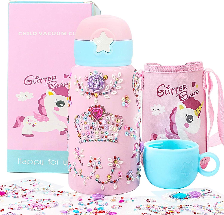 AYUQI Decora y Personaliza tu Propio Water Bottle para niñas, Unicornio Rosa Botellas de Agua con Rhinestone Glitter Gem Stickers, Arte y artesanía de Bricolaje Lindo Regalo para niñas 4 5 6 7 8 años