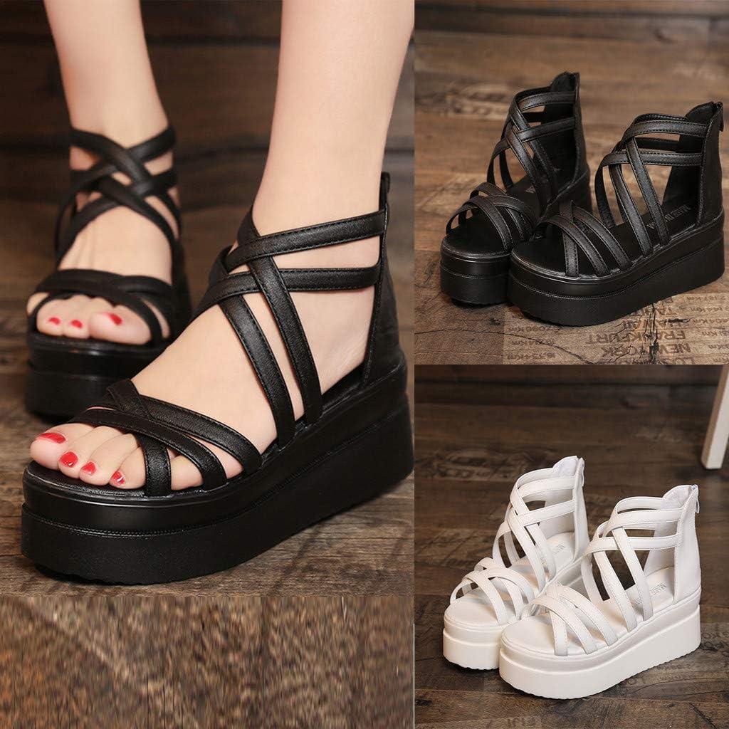 Chaussures Femmes FantaisieZ Talon /épais Sangle Crois/éE D/éContract/é Muffin Bout Rond Antid/éRapant Sandales Plateforme /éT/é Mode Tongs Femme Noir//Blanc