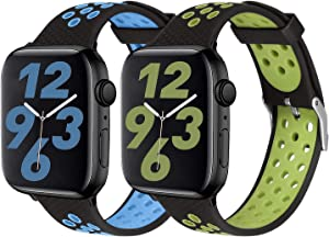 SKYLET Sport Bands Compatible with Apple Watch 42mm 44mm 38mm 40mm, Soft Silicone Breathable Wristbands Replacement Straps Compatible with Apple Watch Series 5 4 3 2 1 for Women Men(Blue,Green)