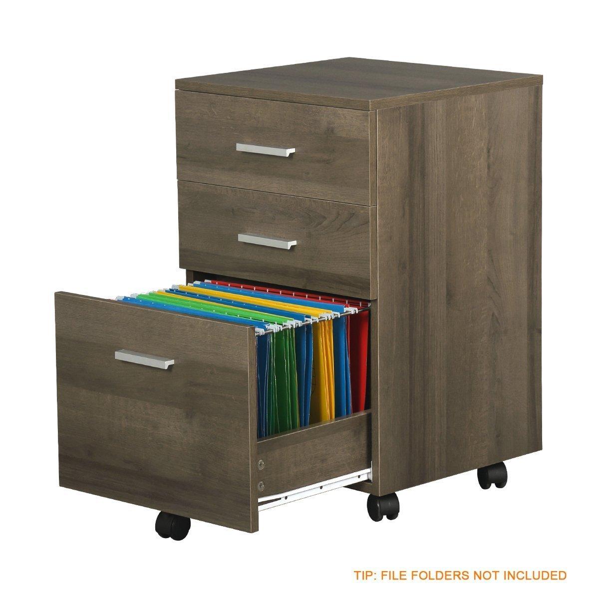 DEVAISE - Archivador de madera con 3 cajones y un diseño portátil de tamaño A4 y tamaño para cartas: Amazon.es: Oficina y papelería