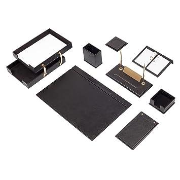 Lussodor Mira Negro, Organizador de oficina, Juego de accesorios de escritorio, 2 niveles