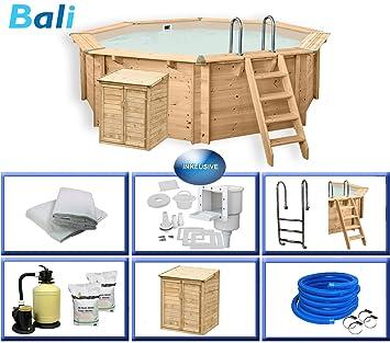 Paradies Pool Holzpool Bali Premium Set Inkl Pumpenhaus