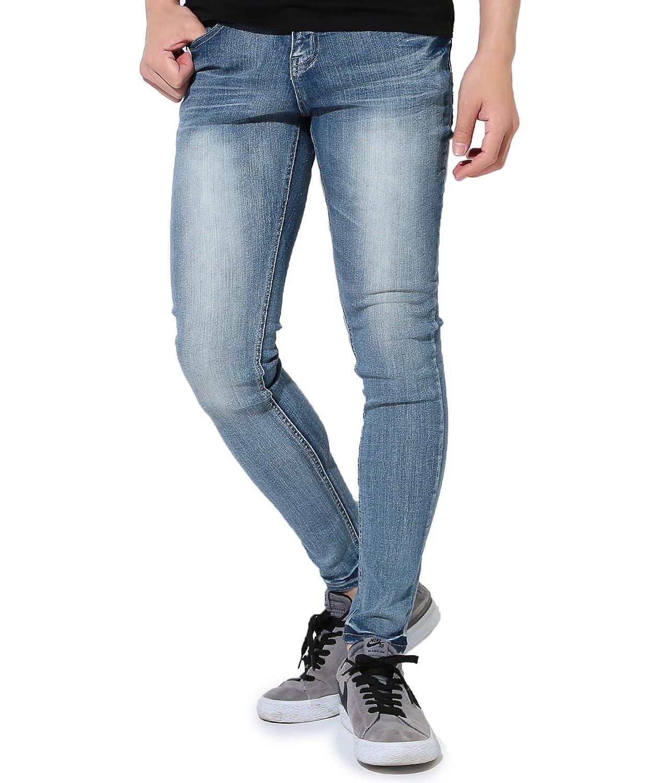 05eebc1a762 JIGGYS SHOP Men's Non-Ripped Jeans Denim Stretch and Ultra Slim Fit Spandex  Pants Medium Indigo Blue(Non-Ripped)