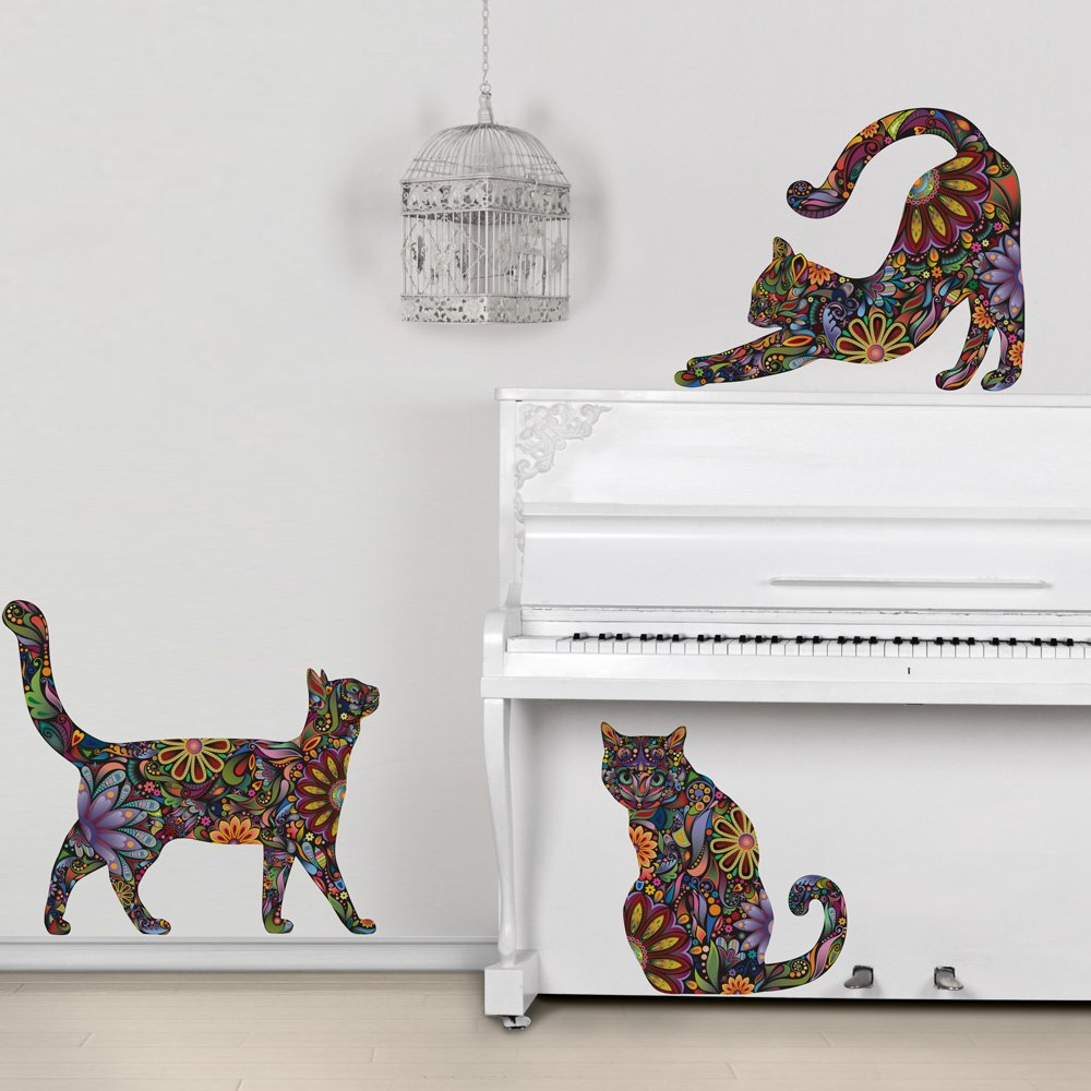 Amazon.com: My Wonderful Walls Repositionable Cat Wall Decals In Flower  Pattern, Small, Set Of 3: Home U0026 Kitchen