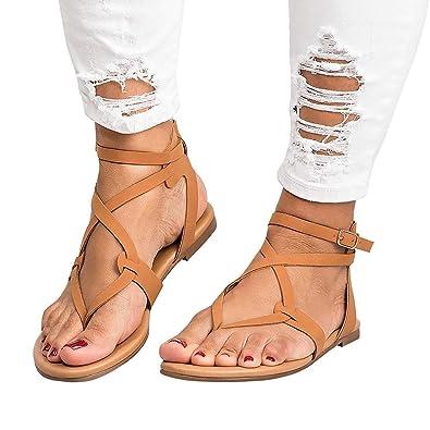 6d2f1d46a19e Amazon.com  Women s Strappy Flat Sandals Soft PU Leather Sandals Summer  Shoes  Shoes