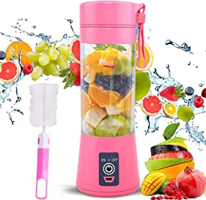 Portable Personal Blender, Household Juicer fruit shake Mixer -Six Blades, BPA Free 380ml Baby cooking machine with USB Charger Cable (pink)
