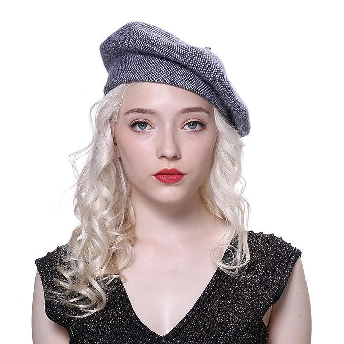URSFUR Mujer Gorros Boina lana y Sombrero de pintor Primavera o Invierno 4f5924e5a91
