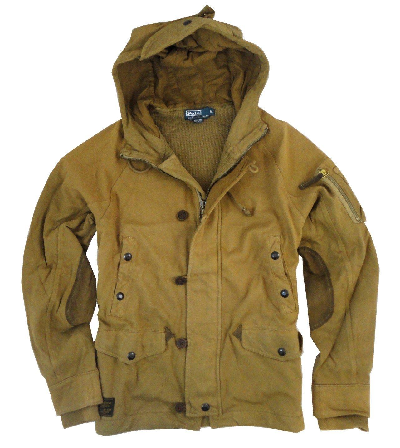 Polo Ralph Lauren Motor Cycle Jacket Brown Jersey Hood Zip Mens