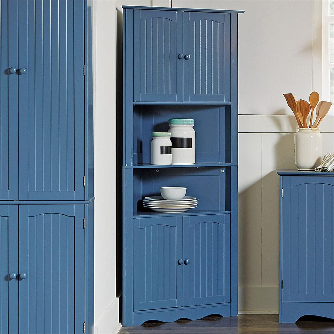 Amazon.com: Brylanehome Country Kitchen Corner Cabinet (Blue,0 ...