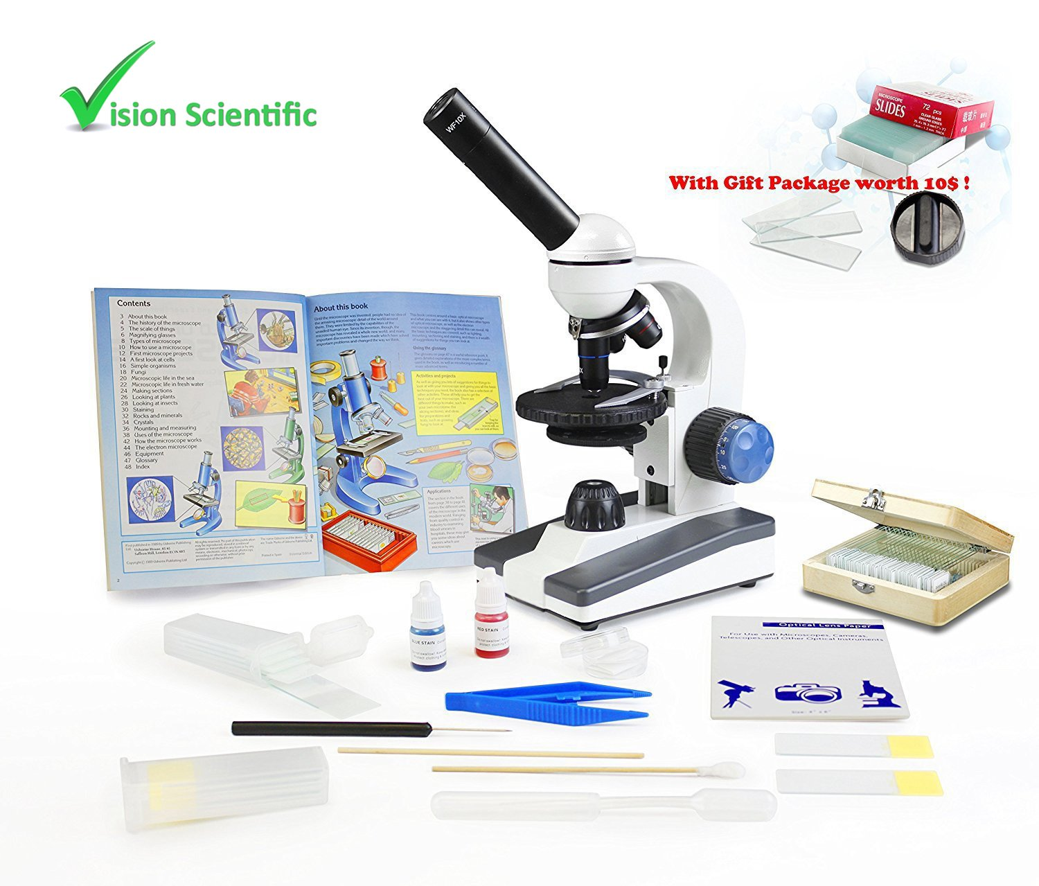 VIsion Scientific VME0018-RC-P2 Monocular Elementary Level Microscope, 40x-1000x Magnification, Microscope Book, Microscope Discovery Kit, 25 Prepared Slides Set, Free Gift Package ($10 Value)