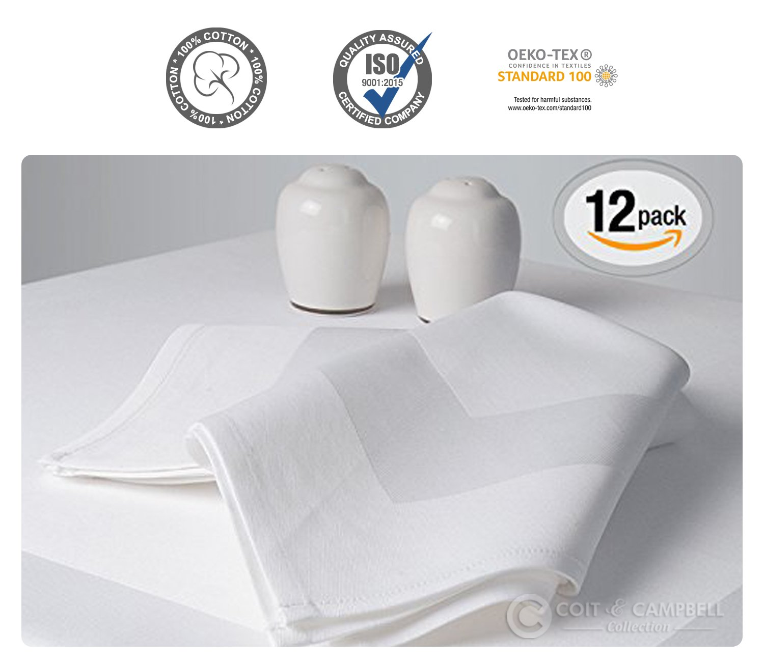 Luxury Angel White Satin Band Napkins - (20''x20'') 100% Cotton Dinner Napkins - Soft, Durable Hotel Quality - Ideal for Grand Events & Regular Home Use - 'Royal Collection' (White, 12 Pack)