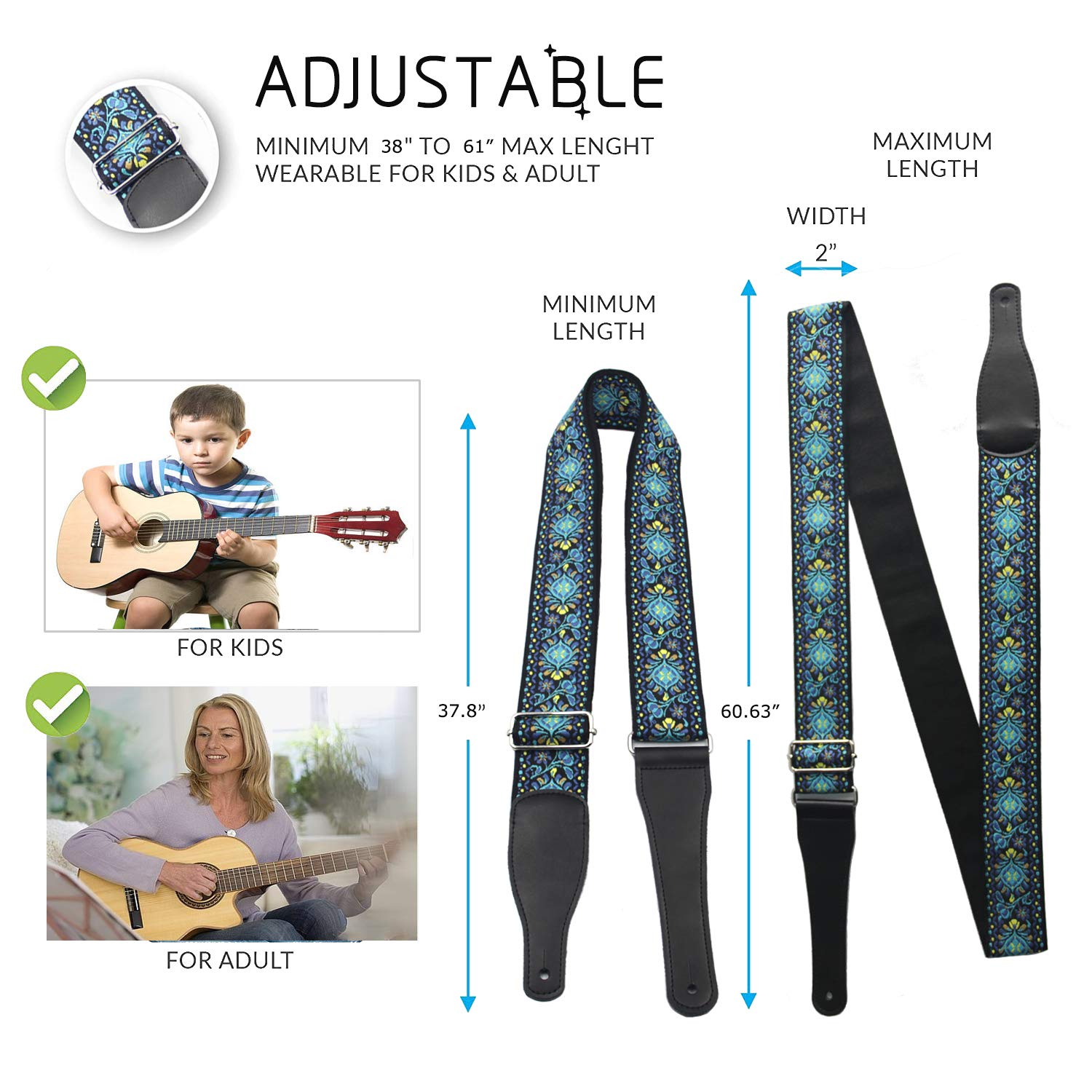 Acoustic Teal Bass Guitar Strap - FluTune 80s XL Cool Guitar Strap for Punk Guitar, Electric Guitar, Cool Guitar Strap with Lock and Buttons