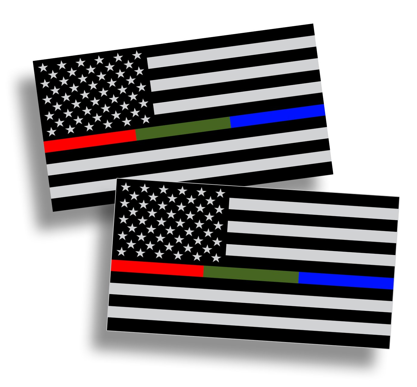 Amazon com police military and fire thin line usa flag american flag sticker blue green and red stripe for cars trucks cups laptops vinyl window bumper