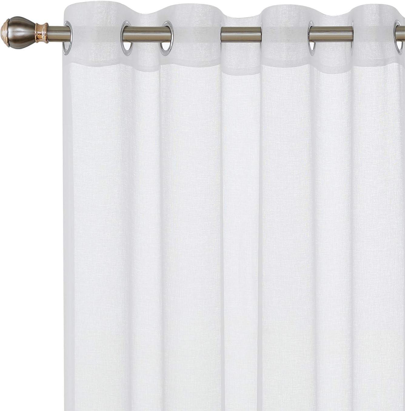 Deconovo Lot de 2 Rideau Transparent Voile Rideaux de Chambre Deco Salon Panneau /à Oeillets de Fen/être 132x242cm Blanc
