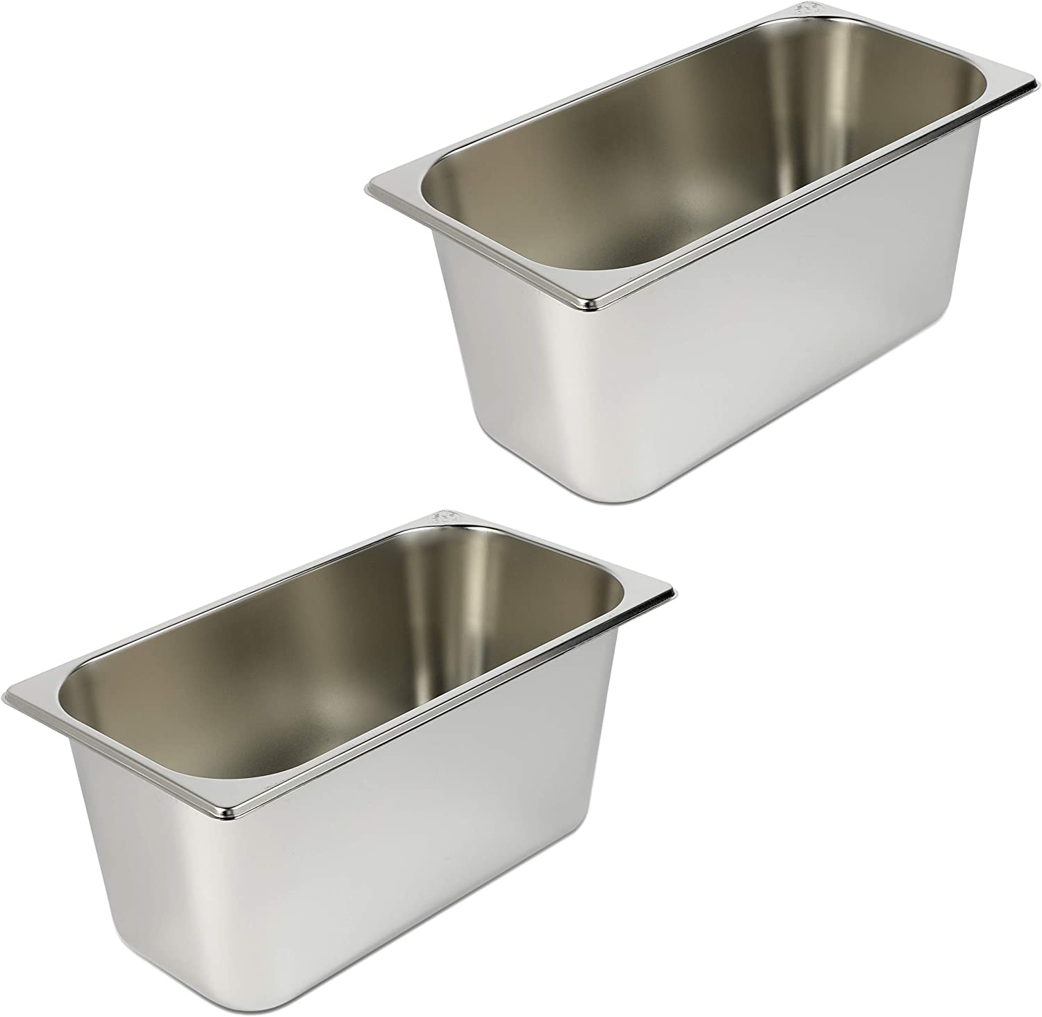 Steamer Table Chafer Pans for Buffet, Catering, 1/3 Size (12.8 x 7 In, 2 Pack)