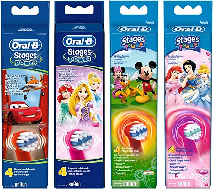 Amazon.com: Oral-b Stages Power Cars - Replacement Brush Heads (1 Pack = 4 Pieces) Disney for Kids!: Health & Personal Care