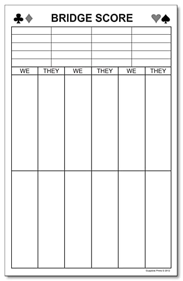 "Amazon.Com : Large Bridge Score Notepad, Quantity: One Pad. 5.5"" X"