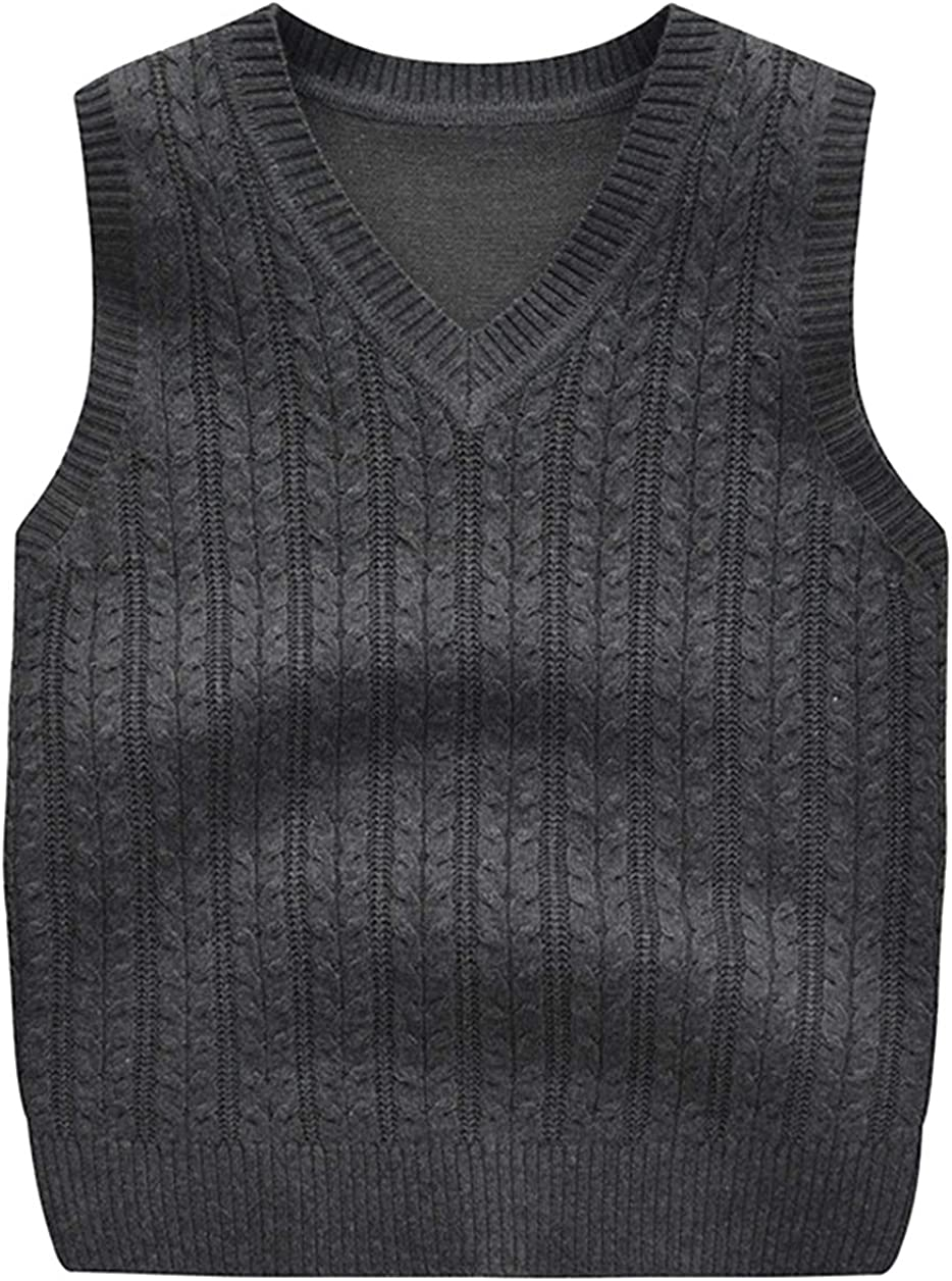 Binse Boys Knitted Vest Cotton V Neck Uniforms Knit Sweater Pullover