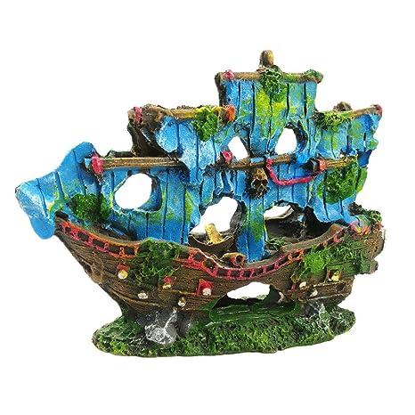 Amakunft - Adornos de Barco Pirata para Acuario, Resina para acuarios, Cuevas acuáticas,