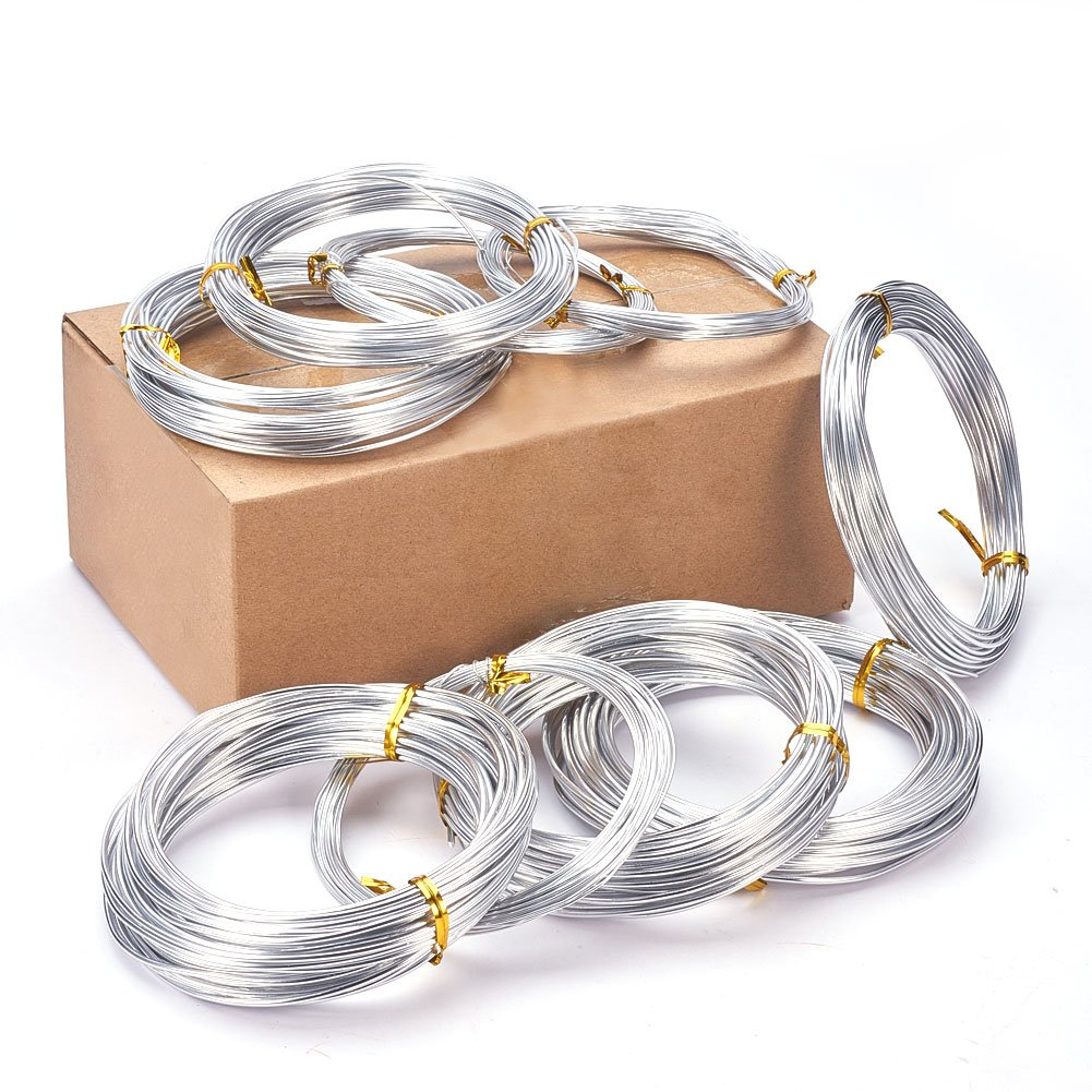 PandaHall Elite Pack of 9 Roll of 3 Sizes Aluminum Silver Craft Wire 12 15 20 Gauge Bendable Metal Wire for Jewelry Making DIY Crafts PH PandaHall wh-AW-PH0002-02