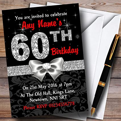 Red Black Silver Diamond 60Th Birthday Party Personalized Invitations