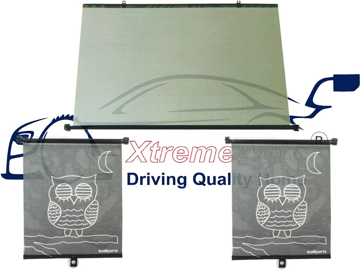 XtremeAuto/® FULL REAR CAR WINDOW BLIND SET: Black Rear Roller Blind UV Ray Shield // Shade Protection for Children Baby 93cm wide X 68cm tall 2 X OWL Side Roller Blinds Pets.