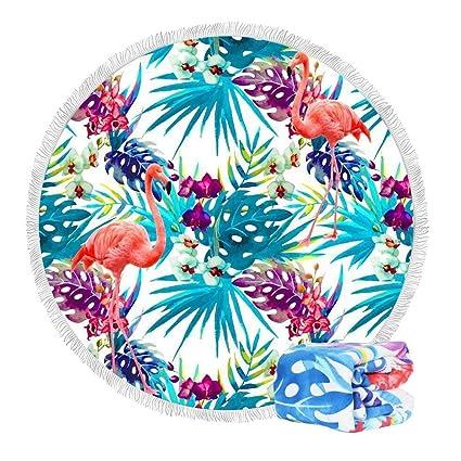LifeUp Toallas de Playa Redondas Grandes de la Microfibra Recorrido, Manta de Playa Multiusos Tire