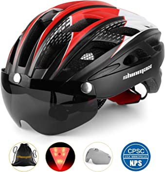 Shinmax Casco Bicicleta con luz, Certificación CE,con Visera Magnética Seguridad Ajustable Desmontable Deporte Gafas de Protección Ligera para Montar Ski & Snowboard Unisex Cascos Bici Adultos: Amazon.es: Deportes y aire libre