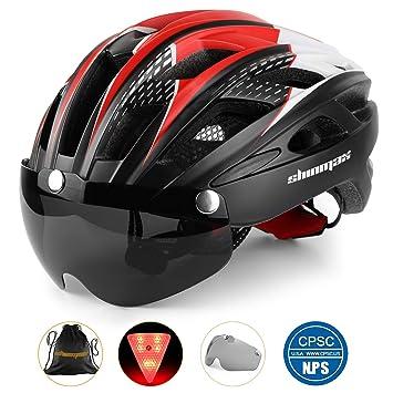 Shinmax Casco Bicicleta con luz, Certificación CE,con Visera ...