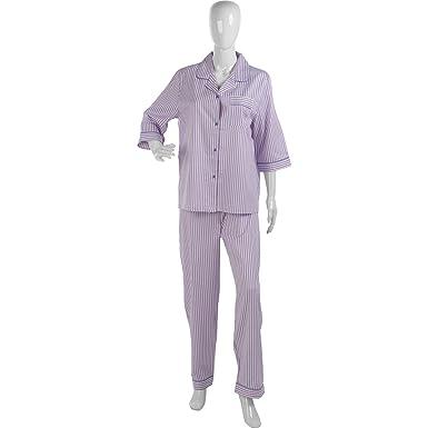 Ladies Slenderella Jacquard Striped Pajamas 100% Cotton PJs Set UK 20 22  (Pink 37a0a2b55