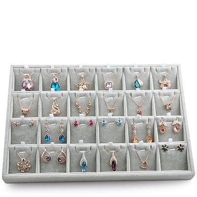 Velvet Pad Tray Ring Earring Display Storage Showcase Organizer Holder Tray