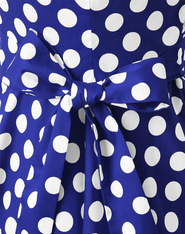 Rockabilly Swing Vestito da Donna Stile Vintage Anni 50 Tinta Unita al Ginocchio MuaDress