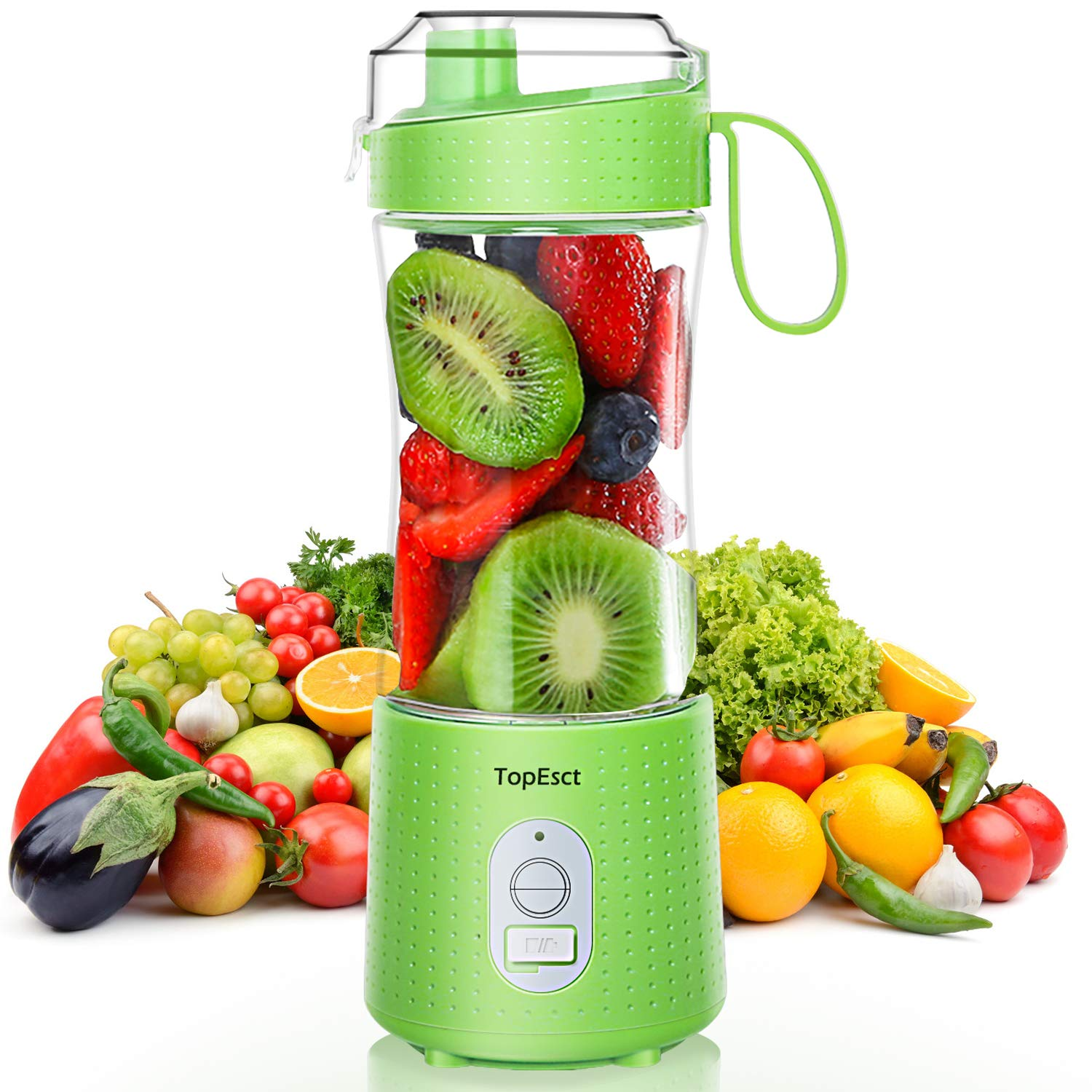 TOPESCT Portable Blender, 380ml Mini Blender for Smoothies and Shakes with 13oz USB Rechargeable Battery + 6 Stainless Steel Blades, BPA Free for Ice Small Blender Mixer Home/Outdoors-Green
