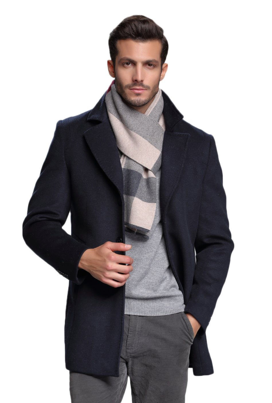 RIONA Mens Winter Cashmere Feel Australian Wool Soft Warm Knitted Scarf with Gift Box Brown