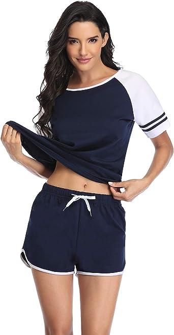 Doaraha Pijamas Mujer Verano 100% Algodon 2 Piezas de Ropa de Dormir Conjunto Deportiva Manga Corto Camiseta con Pantalones Cortas S-XXL: Amazon.es: Ropa y accesorios