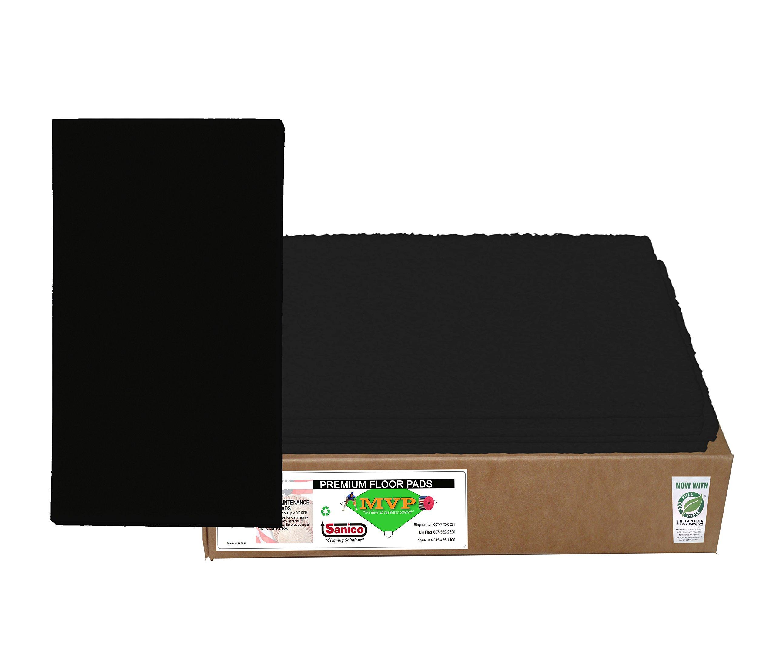 Sanico MVP Reliever 14'' x 28'' Black Stripping Floor Pad Wet Strip (5 per case) -(1 CASE) by Sanico