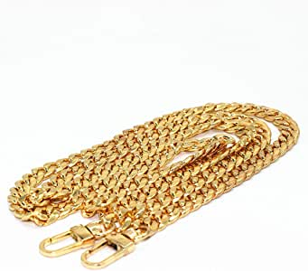 WEICHUAN 47 DIY Iron Flat Chain Strap Handbag Chains Accessories Purse Straps Shoulder Cross Body Replacement Straps with 2pcs Metal Buckles ( Gold )