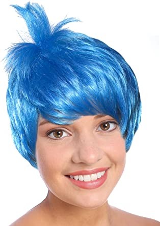 Adult Blue Costume Wig Movie Inside Out Joy Pixie